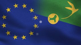 UE e bandeiras realísticas de Ilhas Christmas meias junto ilustração stock