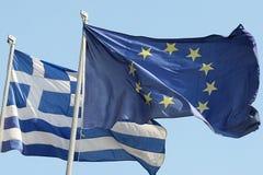 Ue e bandierina greca Fotografia Stock