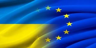 UE e l'Ucraina Fotografie Stock Libere da Diritti