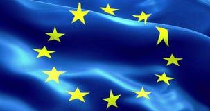 A UE embandeira, a euro- bandeira, bandeira da ondulação da União Europeia ilustração stock