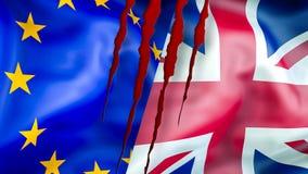 UE et drapeaux BRITANNIQUES Conception de ondulation de drapeau de Brexit 3D Drapeau BRITANNIQUE d'UE, pict illustration stock