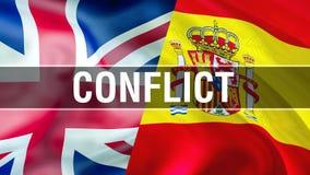UE et drapeaux BRITANNIQUES Conception de ondulation de drapeau de Brexit 3D Drapeau BRITANNIQUE d'UE, pict illustration libre de droits