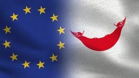 UE et drapeaux réalistes de Rapa Nui d'île de Pâques demi ensemble images stock