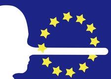 UE, Europa ou referendo etc. Mentiras, conceito falsificado da notícia Cara no perfil com o nariz longo de mentir media fotos de stock