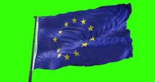 A UE europeia embandeira, a euro- bandeira com polo, bandeira da União Europeia que acena, estrela amarela no fundo azul com verd ilustração stock