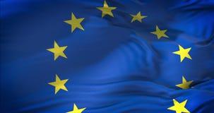 A UE europeia embandeira, a euro- bandeira, bandeira da união europeia que acena, estrela amarela do eurozone no fundo azul, clos