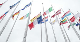 UE and Fench flag flies half-mast at the European Parliament stock video footage