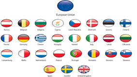 UE flag buttons with shine and labels. Europen Union vector flag buttons Stock Image
