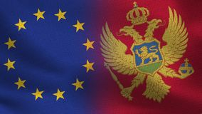UE i Montenegro połówki Realistyczne flaga Wpólnie zdjęcie royalty free