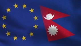 UE i Nepal połówki Realistyczne flaga Wpólnie royalty ilustracja