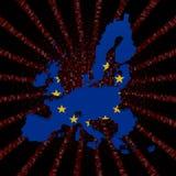 UE kartografuje flaga na czerwonej hex kodu wybuchu ilustraci Fotografia Stock