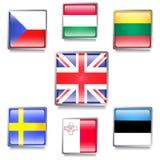 UE krajów flaga Robić jako sieć guziki Obrazy Royalty Free