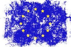 UE, lerciume dell'Unione Europea, vecchia, bandiera graffiata di stile Fotografia Stock Libera da Diritti