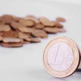 UE (monedas de la unión europea) Imagen de archivo libre de regalías