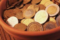 UE (monedas de la unión europea) Imagen de archivo