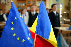 UE and romanian flag Stock Photo