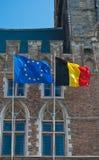 UE und belgische Markierungsfahne Stockbilder