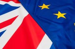 UE y banderas BRITÁNICAS Foto de archivo libre de regalías