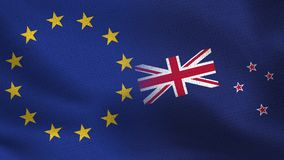 UE y banderas realistas de Nueva Zelanda medias junto ilustración del vector