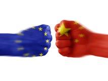 UE y China - desacuerdo imagenes de archivo