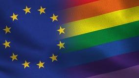 UE y Pride Flag Realistic Half Flags junto libre illustration