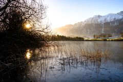 Uebeschisee in the morning sun - Switzerland, Europe stock images