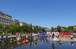 UEFA欧元在Promenade du Paillon在尼斯,法国的2016封信件 免版税库存图片