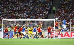UEFA欧元2012决赛西班牙对意大利 图库摄影