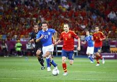 UEFA欧元2012决赛西班牙对意大利 库存照片