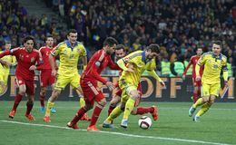 UEFA欧元2016年合格的比赛乌克兰v西班牙 库存照片