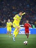 UEFA欧元2016年合格的比赛乌克兰v西班牙 免版税库存照片