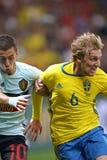 UEFA欧元2016年比赛:瑞典v比利时 库存照片