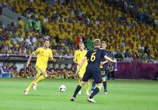 UEFA欧元2012年橄榄球赛乌克兰对瑞典 库存照片