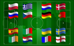 UEFA欧元2012年和旗标橄榄球域 库存图片