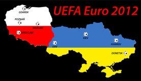 UEFA欧元2012年地图集 库存照片