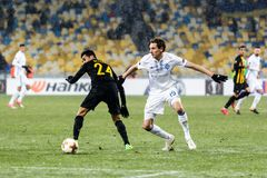 "UEFA欧罗巴同盟足球比赛发电机Kyiv †""AEK, 2月 图库摄影"