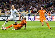 "UEFA欧罗巴同盟足球比赛发电机Kyiv †""Skenderbeu, Se 免版税库存照片"