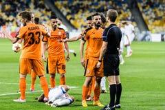 "UEFA欧罗巴同盟足球比赛发电机Kyiv †""Skenderbeu, Se 免版税图库摄影"