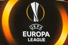 "UEFA欧罗巴同盟足球比赛发电机Kyiv †""Skenderbeu, Se 库存图片"