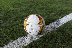 UEFA欧罗巴在盖贝莱之间的同盟比赛正式最后一球  免版税库存照片