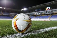 UEFA欧罗巴在盖贝莱之间的同盟比赛正式最后一球  库存照片