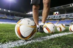 UEFA欧罗巴在盖贝莱和PA之间的同盟比赛最后一球  图库摄影
