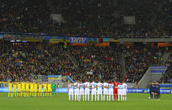 UEFA ЕВРО игра 2016 плей-оффа Украина против Словении стоковые фото