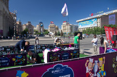 Uefa 2012 trophy comes to kiev,ukraine Royalty Free Stock Image