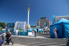 Uefa 2012 trophy comes to kiev,ukraine Royalty Free Stock Photo