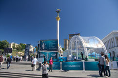 Uefa 2012 trophy comes to kiev,ukraine Stock Photography