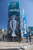 Uefa 2012 trophy comes to kiev,ukraine Royalty Free Stock Photography