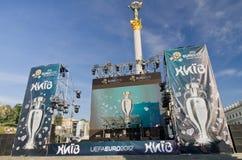 Uefa 2012 trophy comes to kiev,ukraine Stock Images