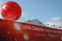 UEFA. Balloon and tent for UEFA Champions League Trophy Tour held in oktober 2011,in Belgrade, Serbia, below Kalemegdan fortress,in the presence of Luis Figo and Royalty Free Stock Photo