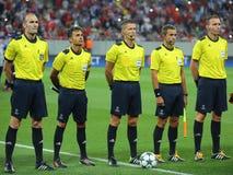 Uefa champions league arbitra brygada obraz royalty free